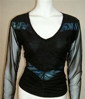 V NECK PAUA TOP WITH NETTING